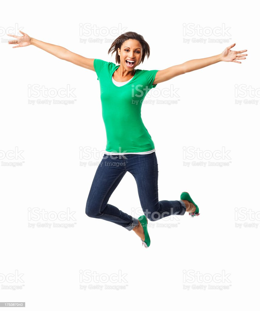 Ecstatic Young Female - Isolated stock photo
