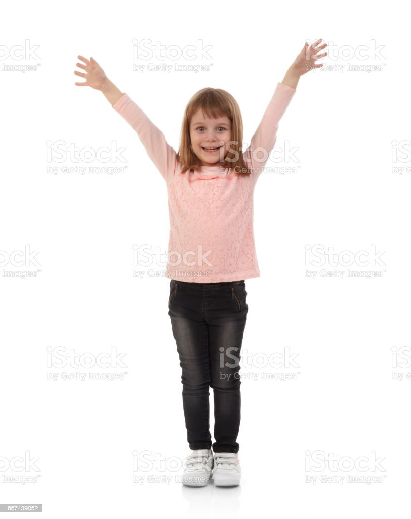Ecstatic young girl stock photo