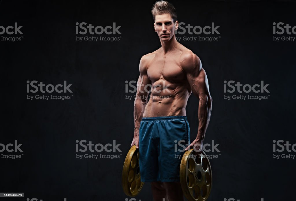 Ectomorph Shirtless Athletic Male Holds Barbell Weight Stock