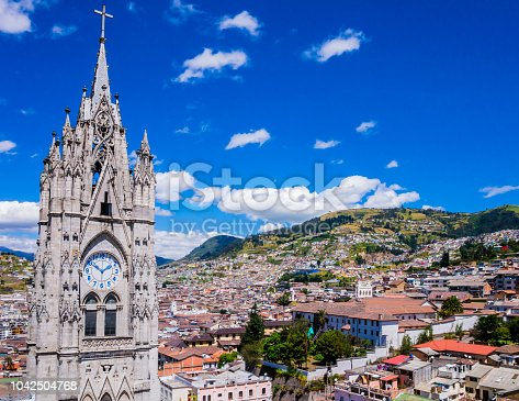 Ecuador, city view of Quito from gothic Basilica del Voto Nacional clock tower