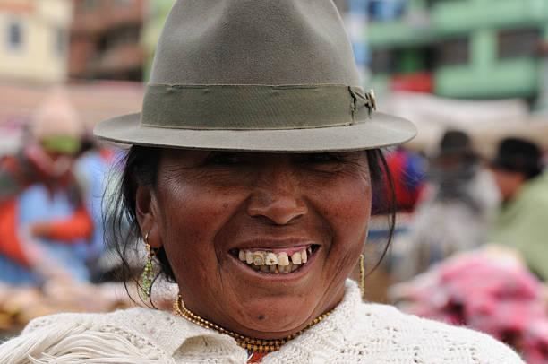 ecuador, ethnic latin woman - gold tooth stock photos and pictures