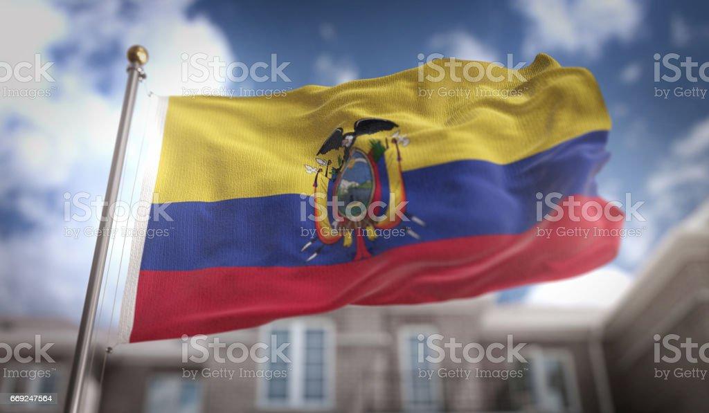 Render 3D de bandera de Ecuador sobre fondo azul Sky Building - foto de stock