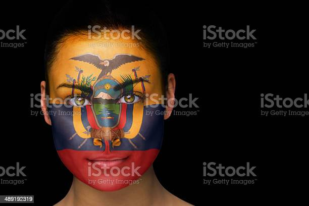 Ecuador football fan in face paint