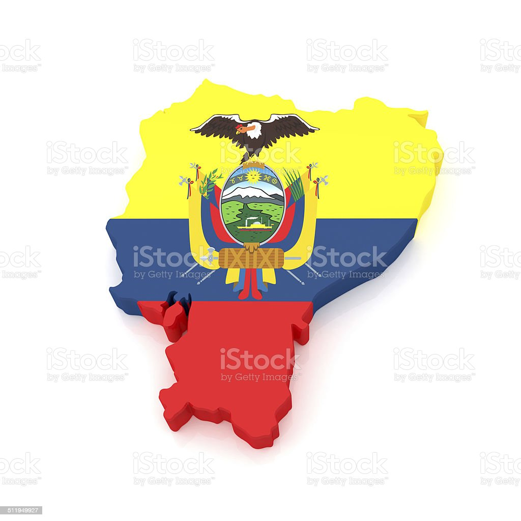 3D Ecuador Map stock photo