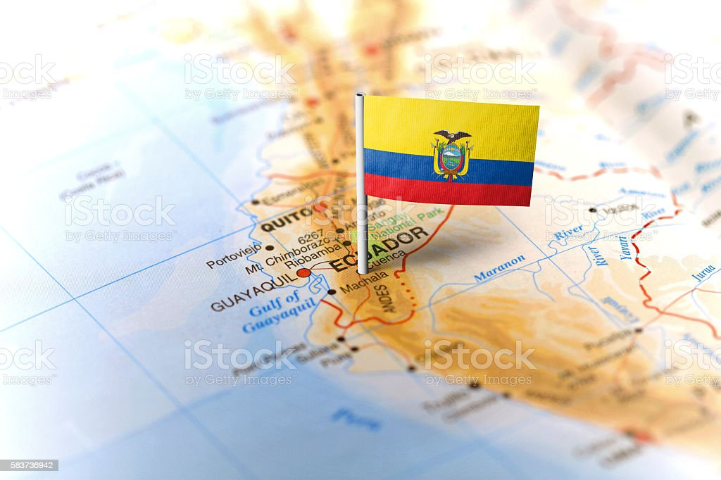 Ecuador pinned on the map with flag - foto de stock