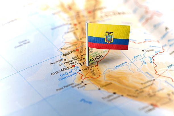 ecuador pinned on the map with flag - ecuador fotografías e imágenes de stock