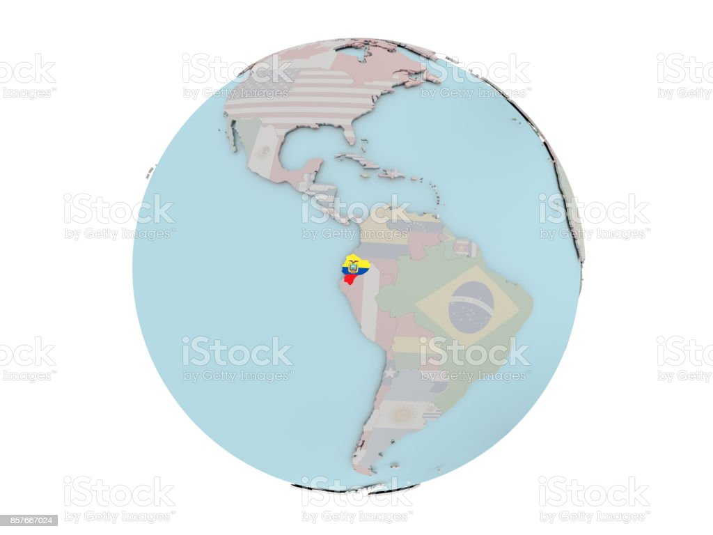 Ecuador with flag on globe stock photo