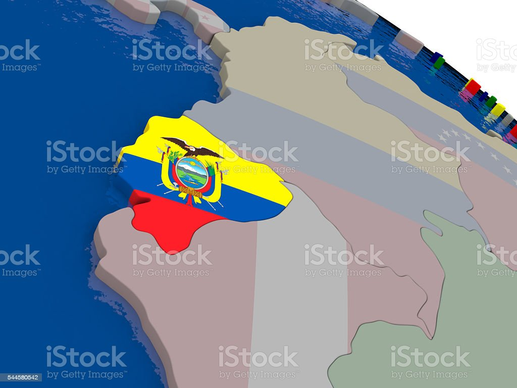 Ecuador with flag stock photo