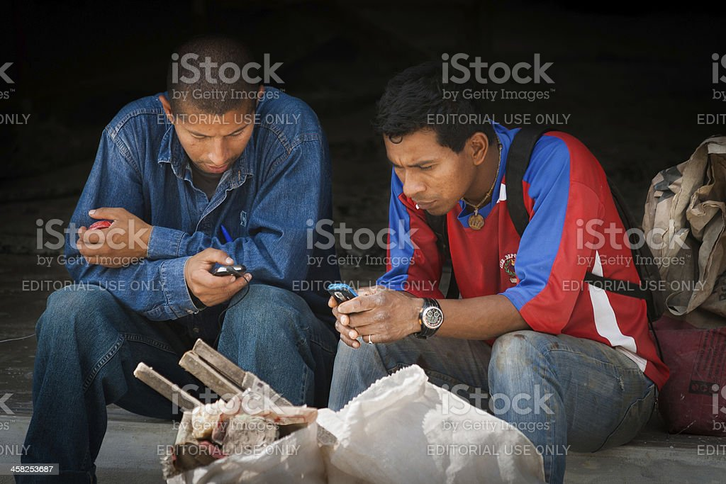 Ecuador workers messaging stock photo
