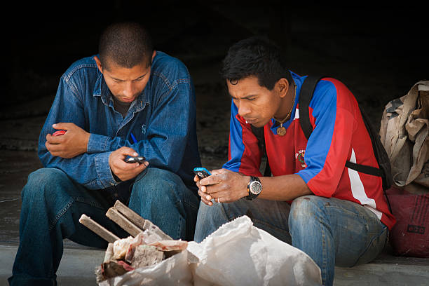 Ecuador workers messaging stock photo