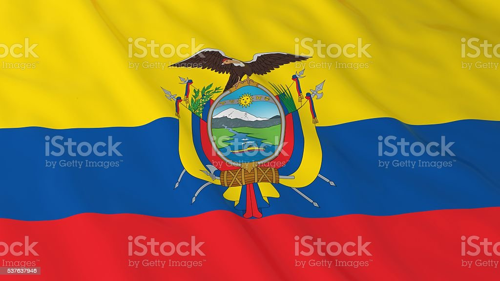 Bandera ecuatoriana Fondo en HD-ilustración 3D de bandera de Ecuador - foto de stock
