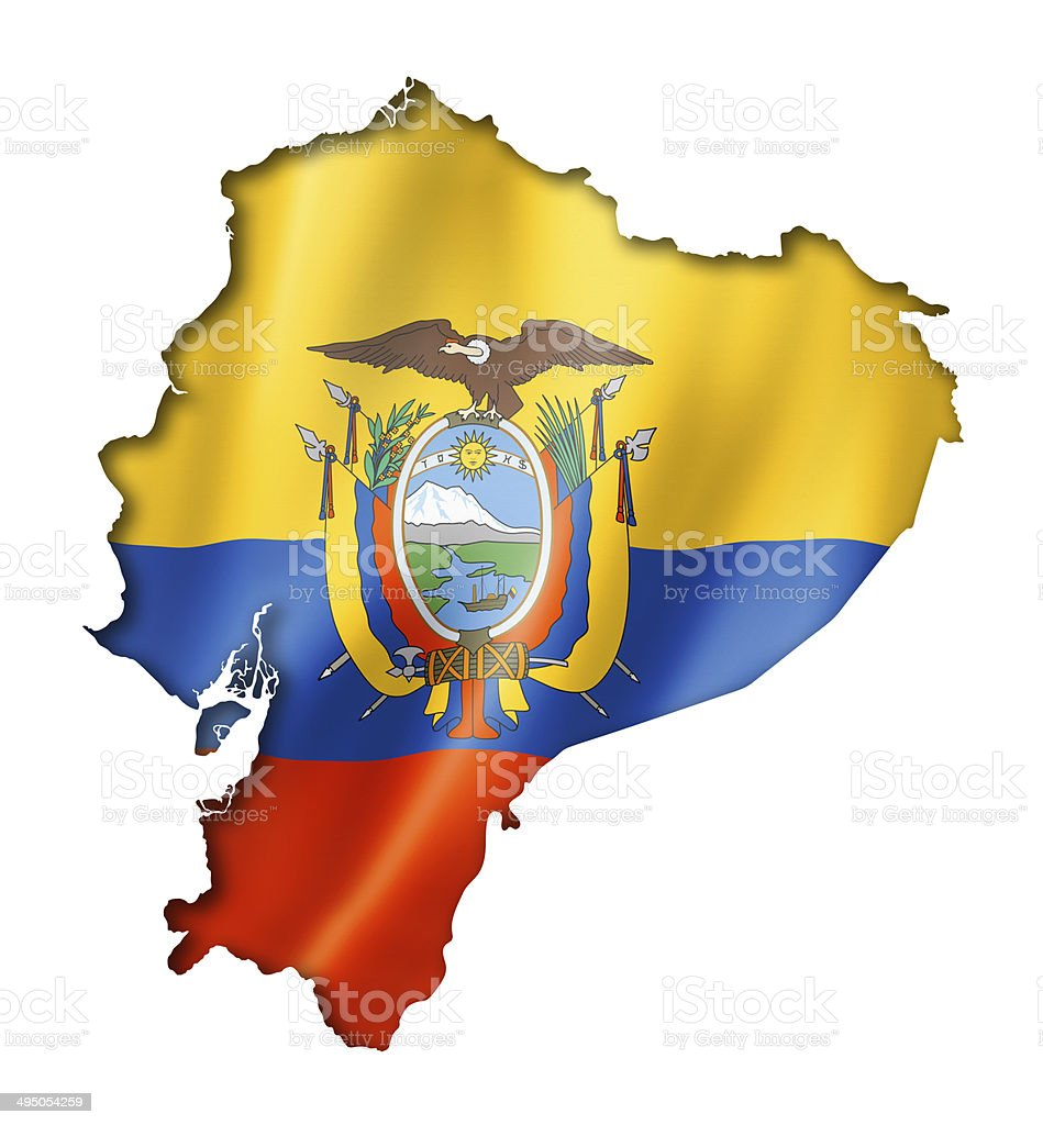Ecuadorian flag map stock photo