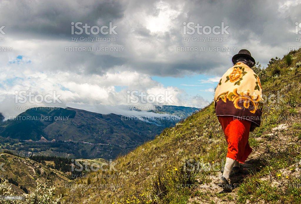 Ecuadorian indigenous woman in Quilitoa area. stock photo