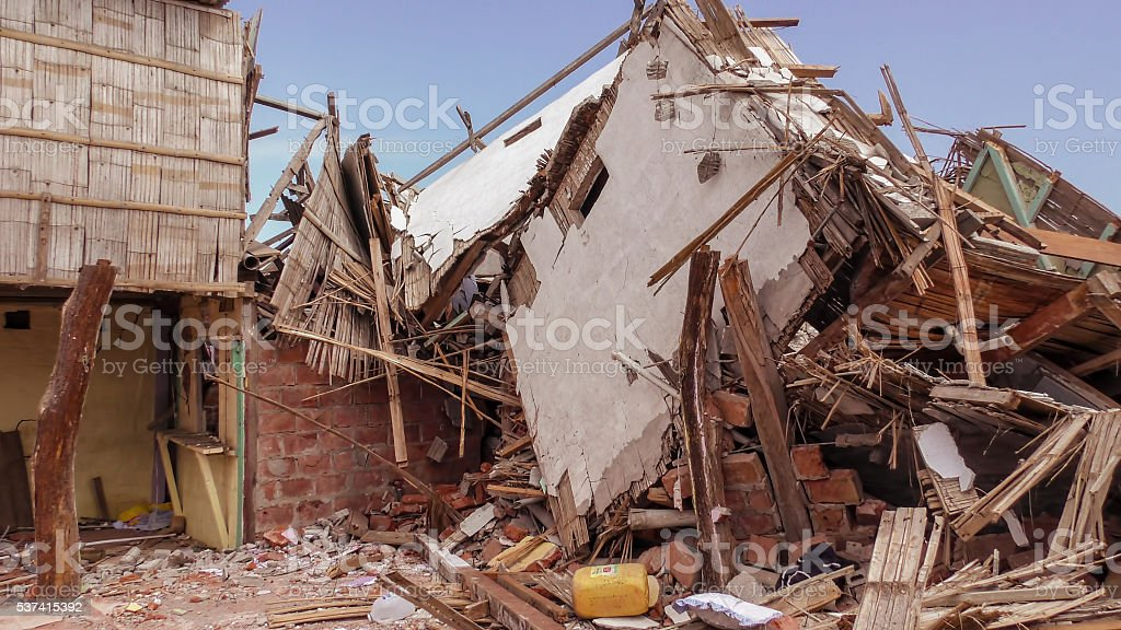 Ecuadorian Village Houses Destroyed By The Earthquake stock photo