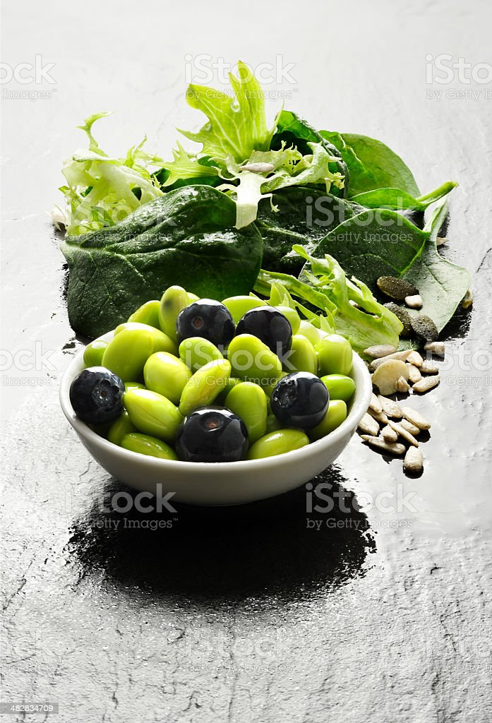 Edamame Beans And Salad royalty-free stock photo