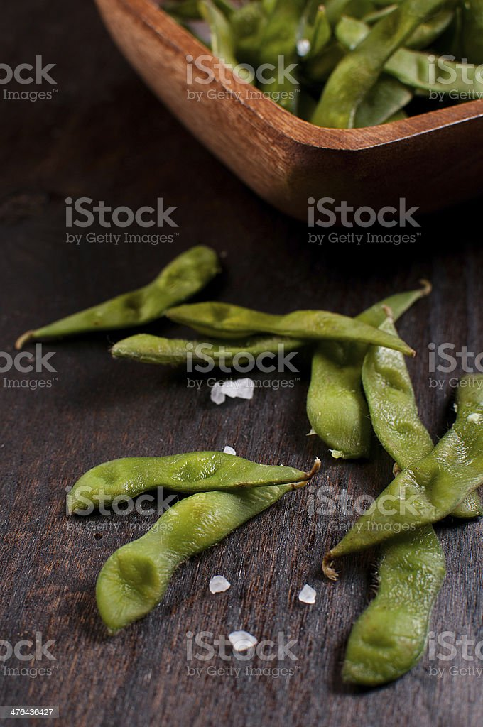 Edamame beans with salt royalty-free stock photo