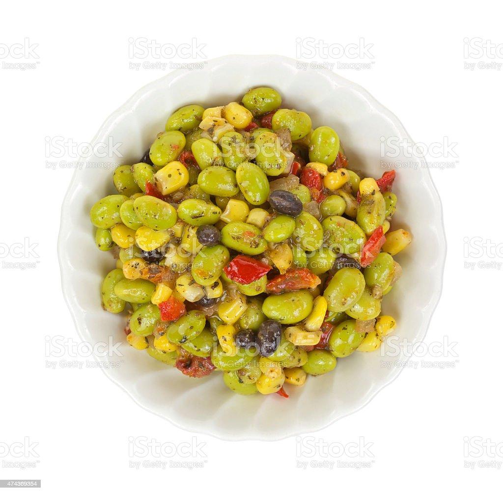 Edamame salad in small bowl stock photo