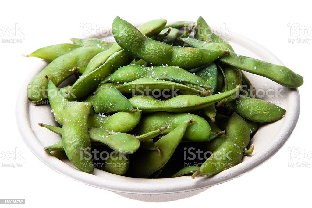 Edamame (Steamed Soybeans) with Sea Salt royalty-free stock photo