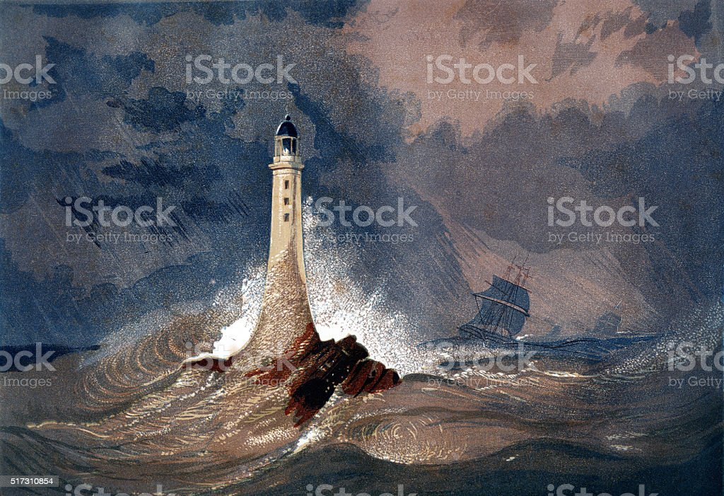 Eddystone Lighthouse (Smeaton's Tower) stock photo