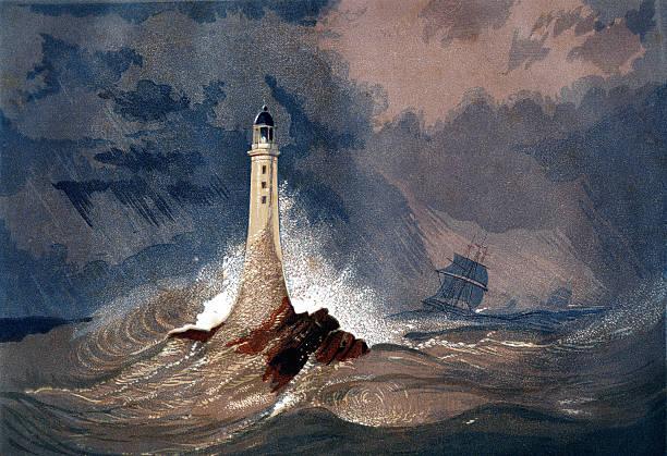 Eddystone Lighthouse (Smeaton's Tower) stock photo