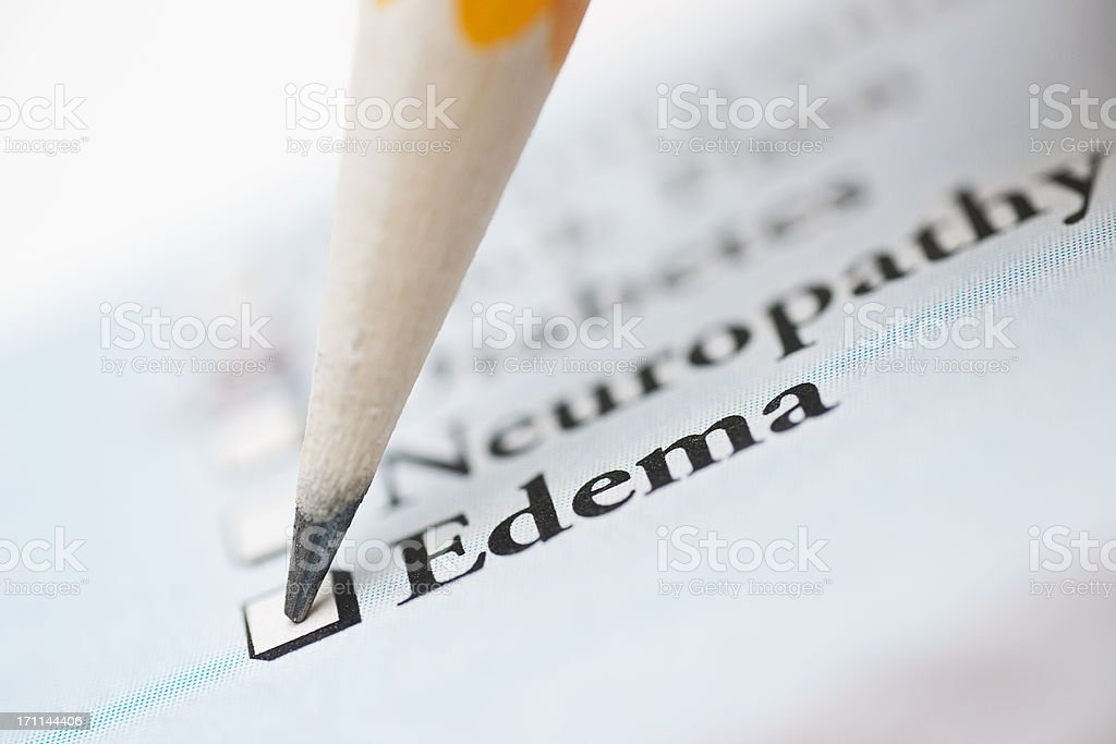 edema - medical check off list stock photo