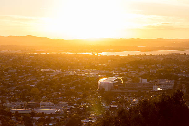Eden Park and the Waitakere Ranges at sunset stock photo