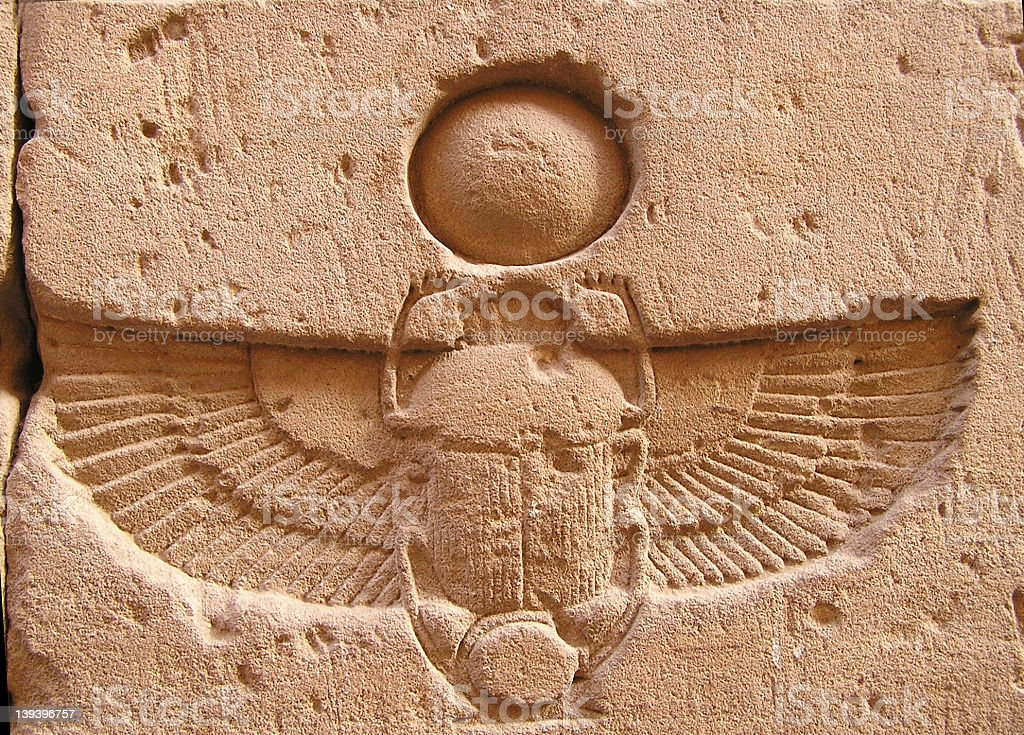 Edfu temple, scarab,  Egypt, Africa stock photo
