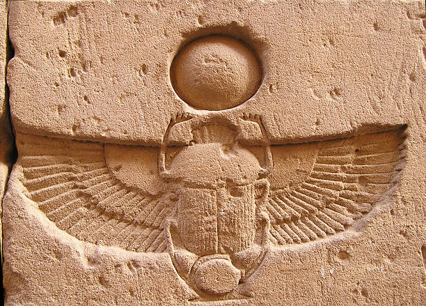 Edfu temple, scarab,  Egypt, Africa stock photo