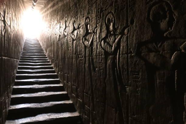 Edfu temple stairs stock photo