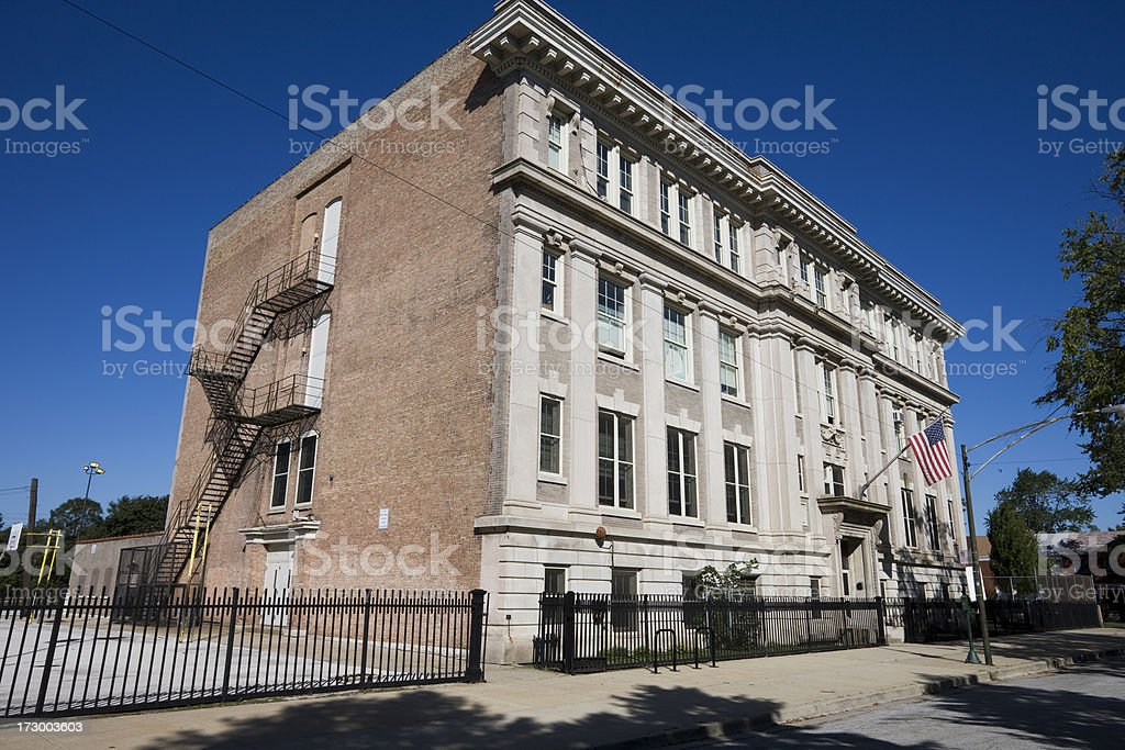 Edgar Allan Poe Classic School in Pullman, Chicago royalty-free stock photo