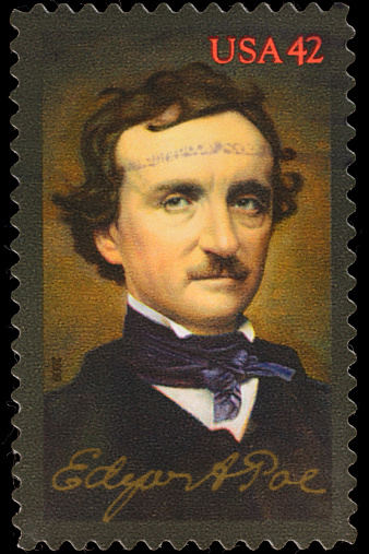 A 2009 USA postage stamp with an illustration of the 19th century poet Edgar Allan Poe.