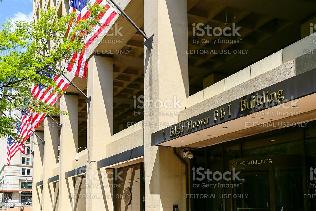 J. Edgar Hoover Building with American Flag stock photo
