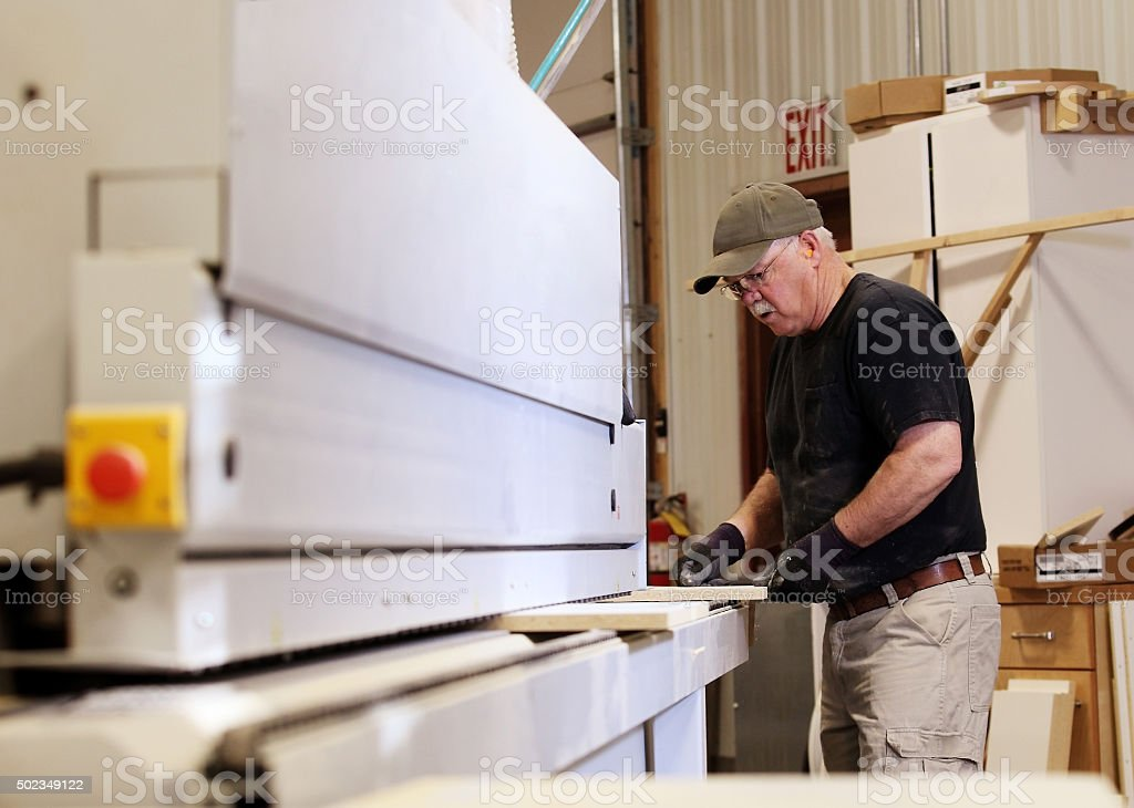 Edge Bander operator stock photo