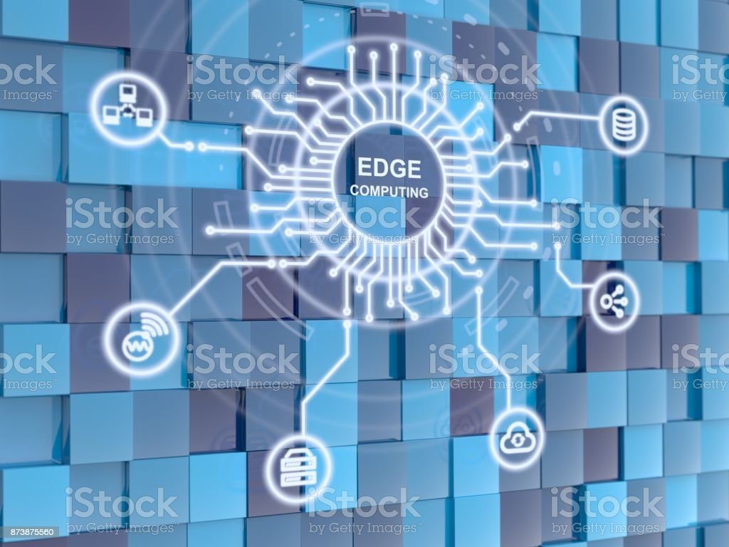 Edge computing circuit circle on blue cube background stock photo