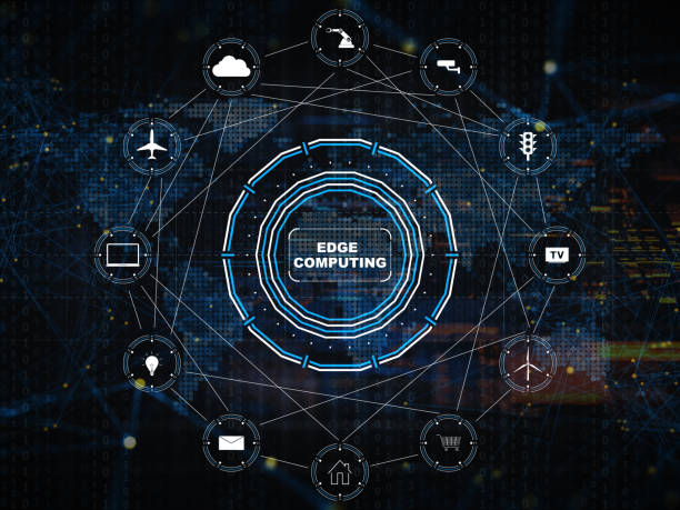 edge computing digital background - computer equipment stock pictures, royalty-free photos & images