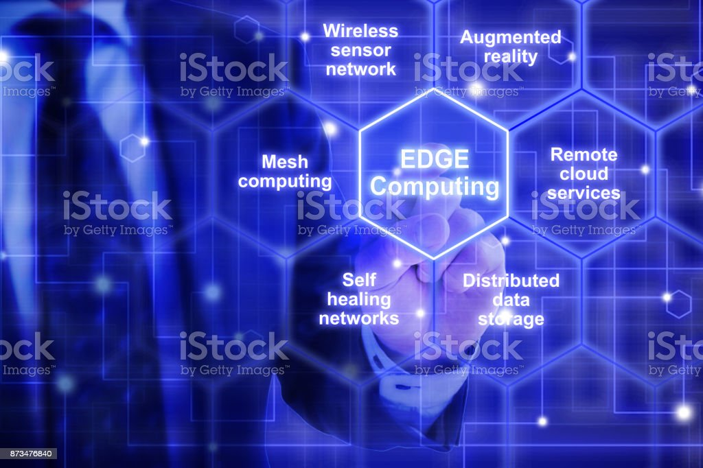 Edge computing hexagon grid with keywords from an IT expert royalty-free stock photo