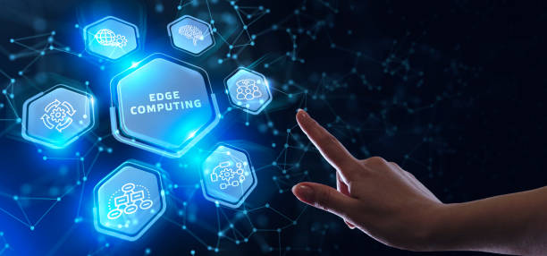 Edge computing modern IT technology on virtual screen. Business, technology, internet and networking concept. stock photo