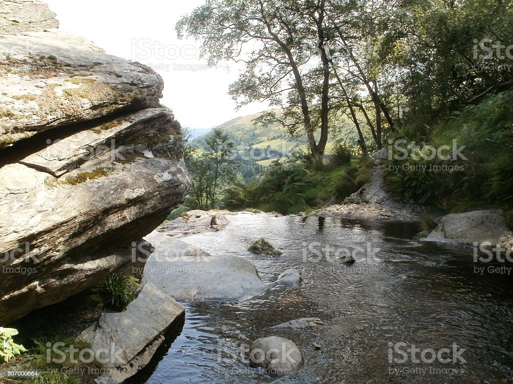 Edge of a Wales waterfall stock photo