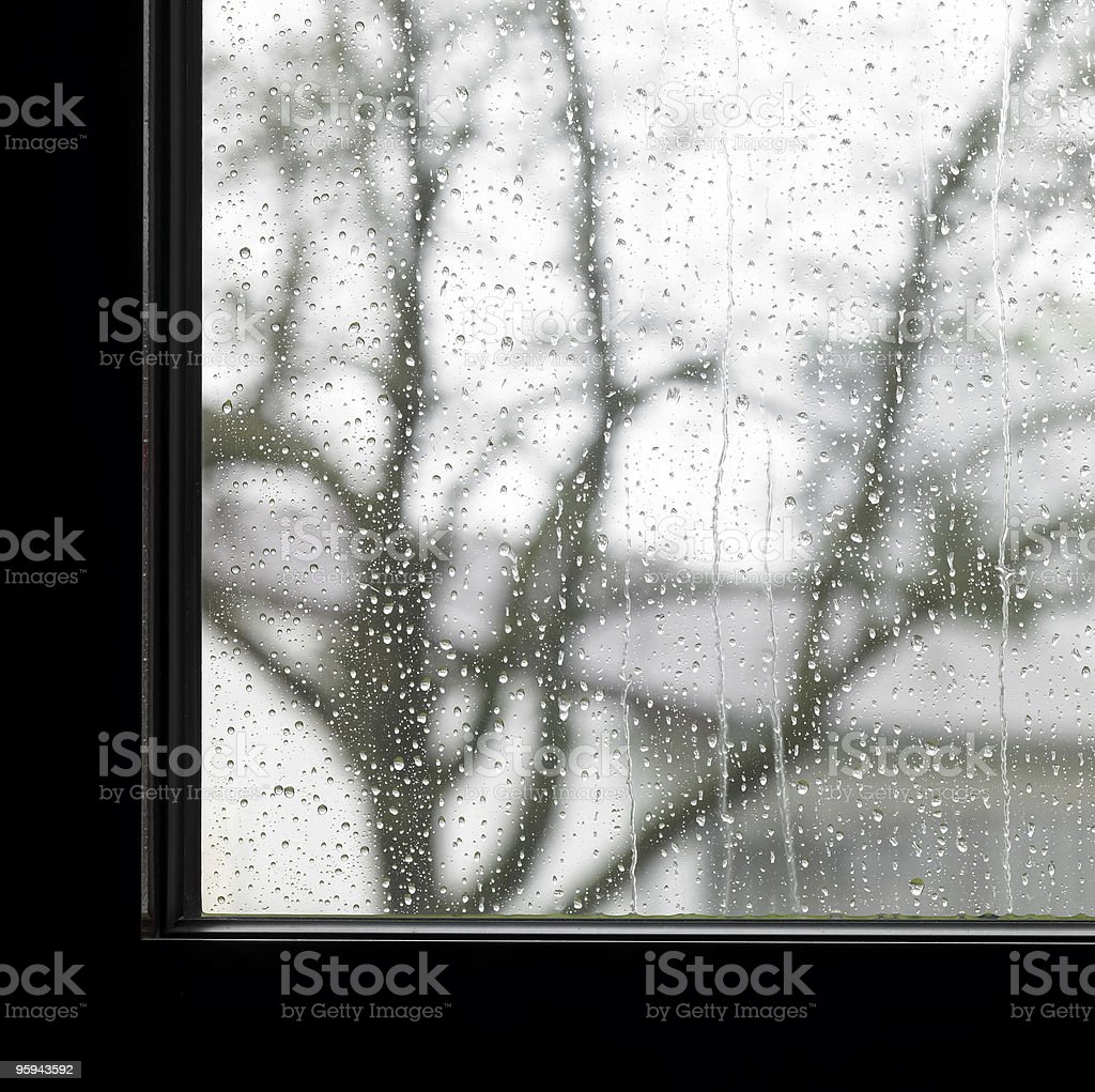 edge of a window and raindrops royalty-free stock photo