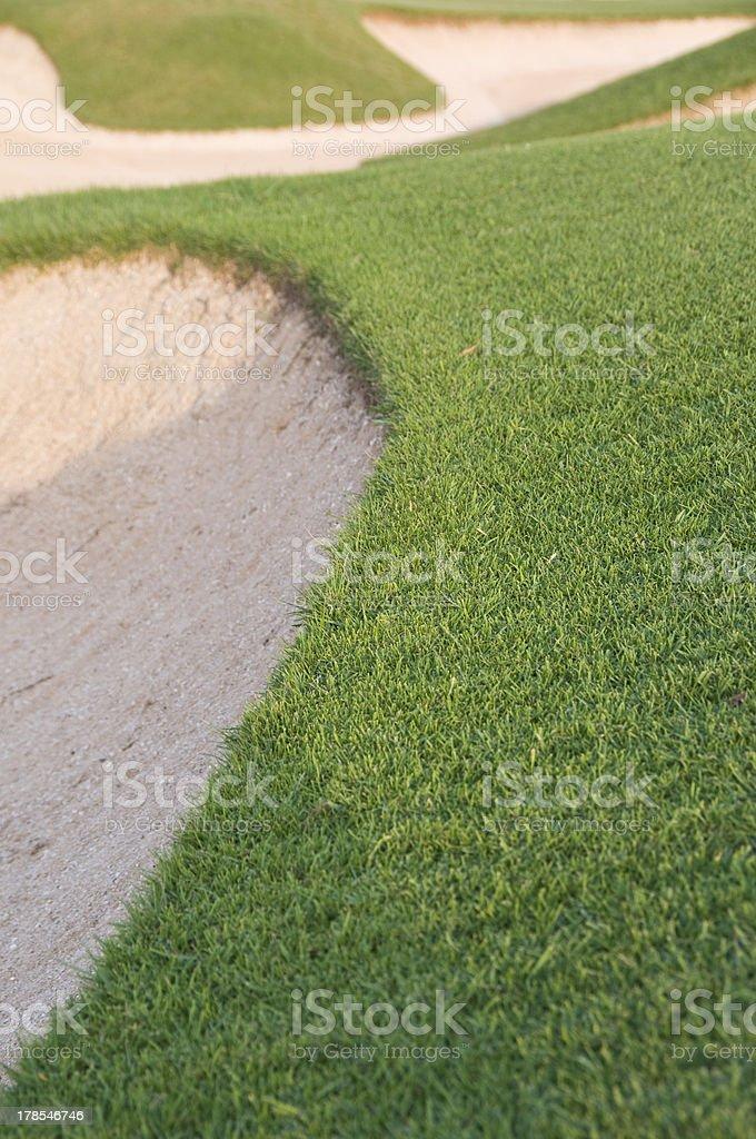 Edge of golf bunker stock photo