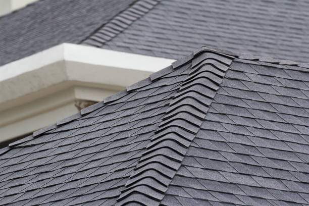 edge of roof shingles on top of the house, dark asphalt tiles on the roof background. - composition stock pictures, royalty-free photos & images