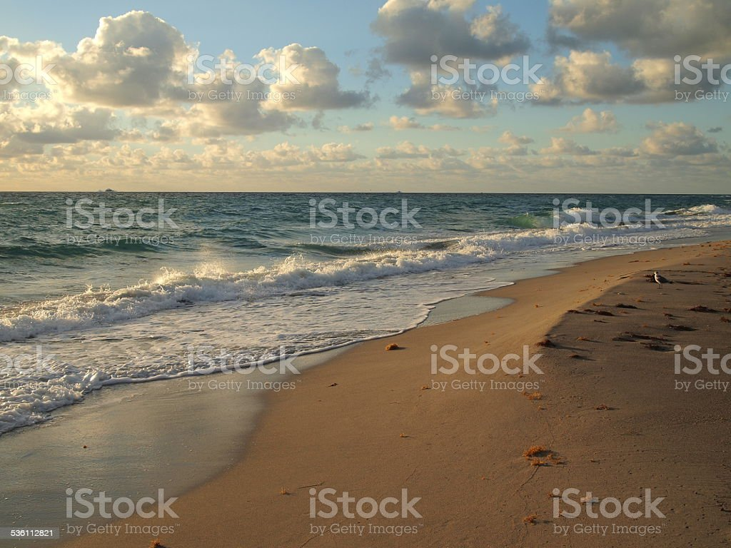 Edge of surf with rippling waves on breezy sunrise walk stock photo
