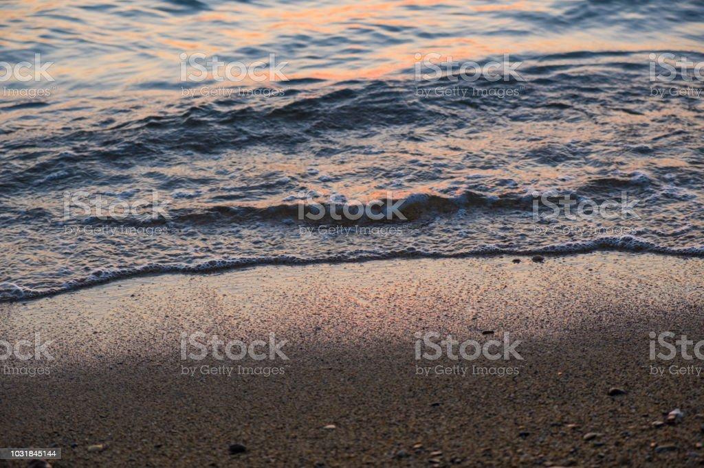 Edge of the beach close up stock photo