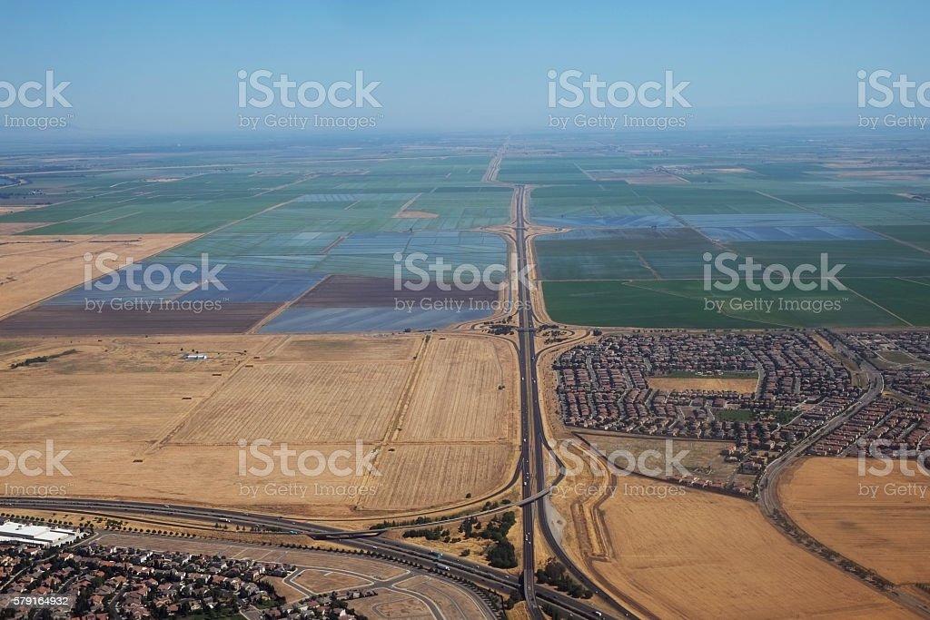 Edge of urban Sacramento and a farmland stock photo