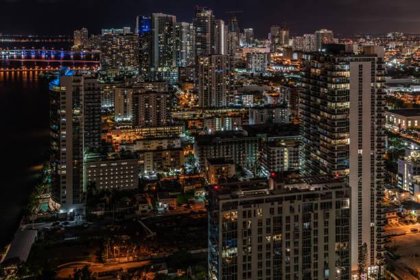 Edgewater Miami Skyline Aerial View at Night stock photo