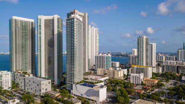 Edgewater Miami Skyline Aerial View stock photo