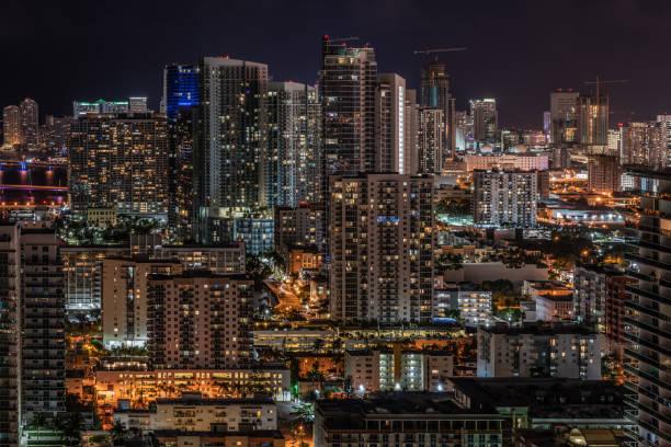 Edgewater Miami Skyline at Night stock photo
