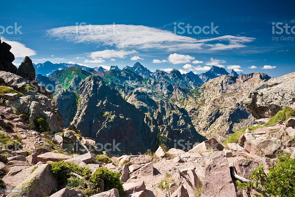 Edgy peaks of Corsican mountains (GR20) stock photo