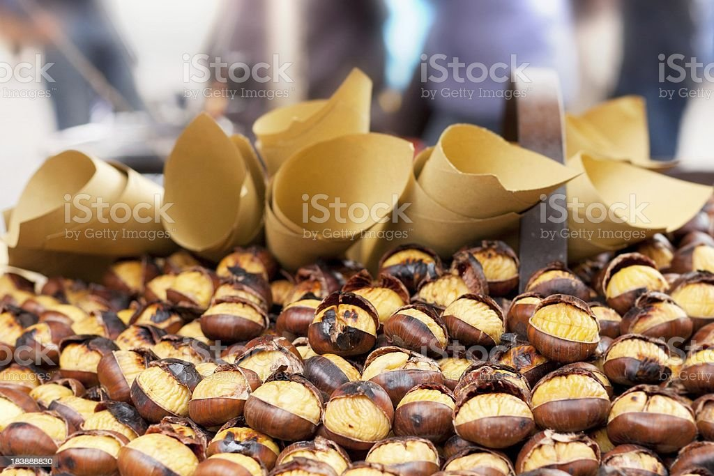 Edible Hot Chestnuts in street stall. Rome, Italy. stock photo