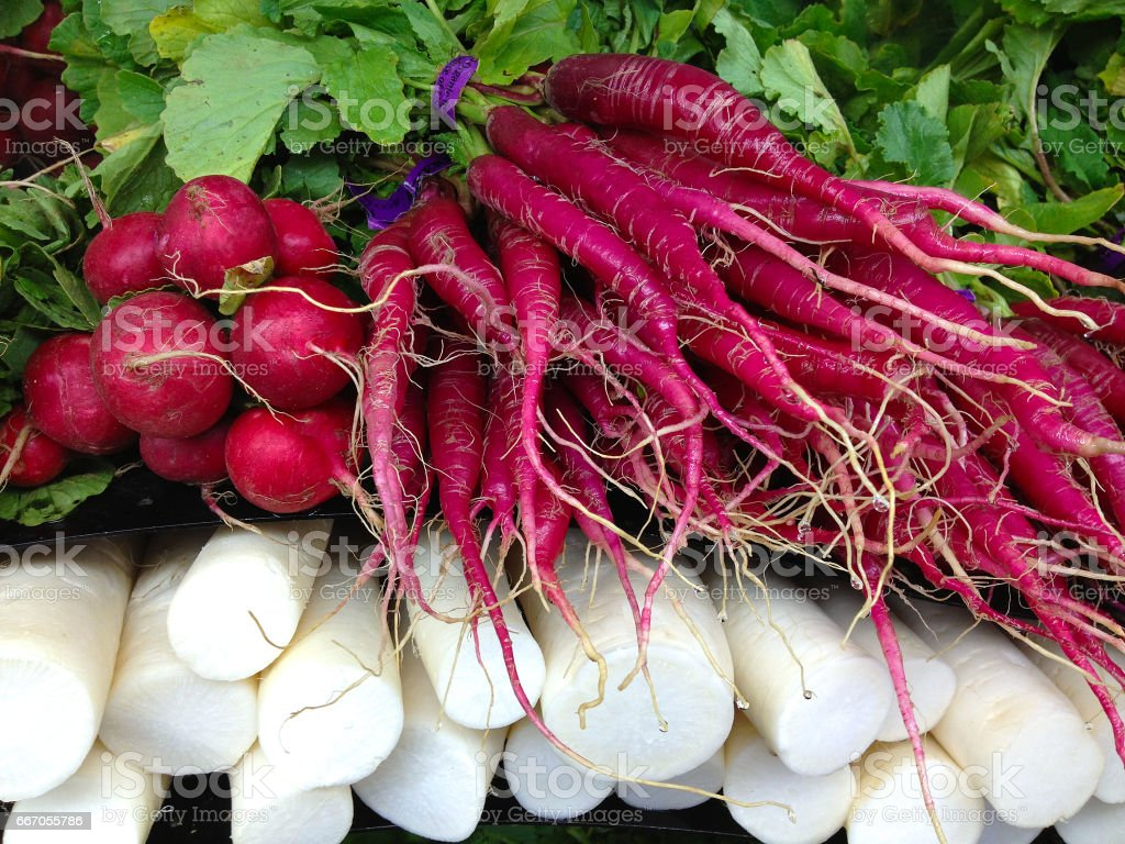 Root crops on display at a farmer\'s market.